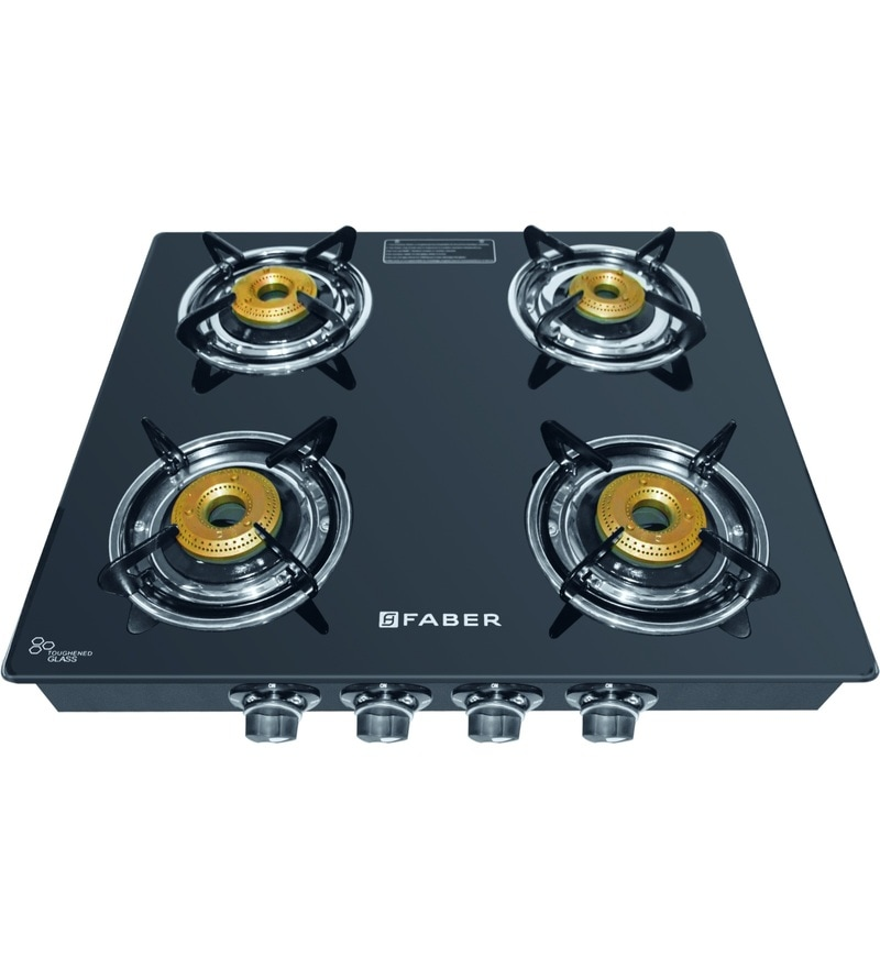 GST RELIEF DEAL - ADDITIONAL 5% OFF :: FABER Splendor 4 Burner Manual Ignition Black Cooktop