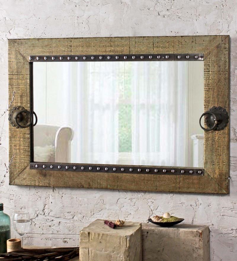 Fabuliv Antique Green Mango Wood 32 x 1 x 24 Inch Vintage Kayden Bathroom Mirror