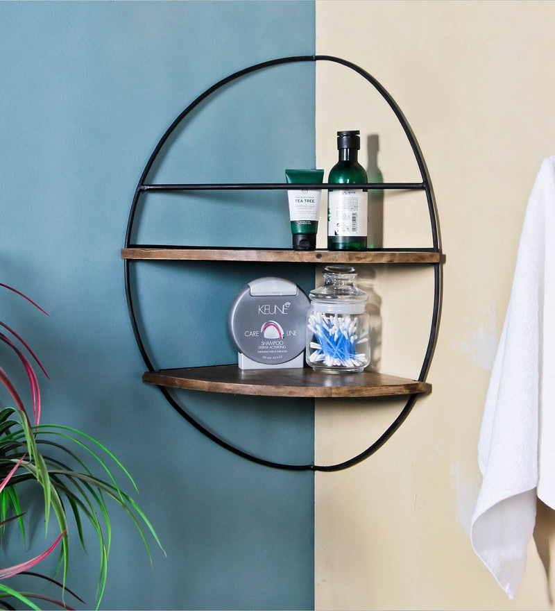 Fabuliv Black Iron And Wood 17.5 x 12.5 x 23.2 Inch Lindon Corner Bath Shelf