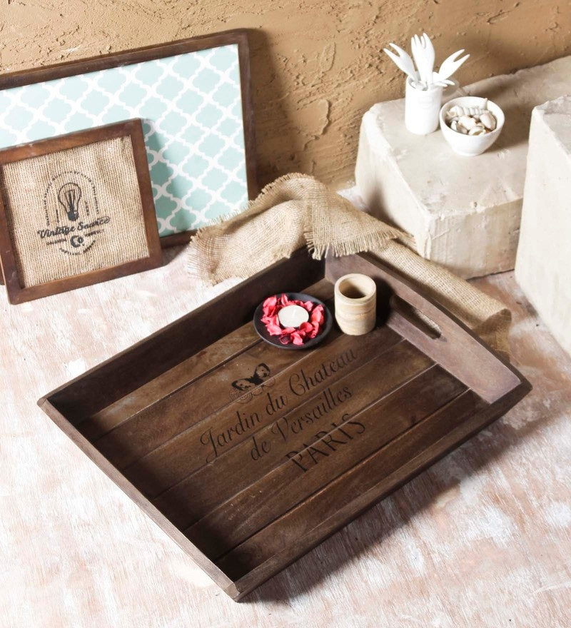 Fabuliv Brown Wooden Serving Tray
