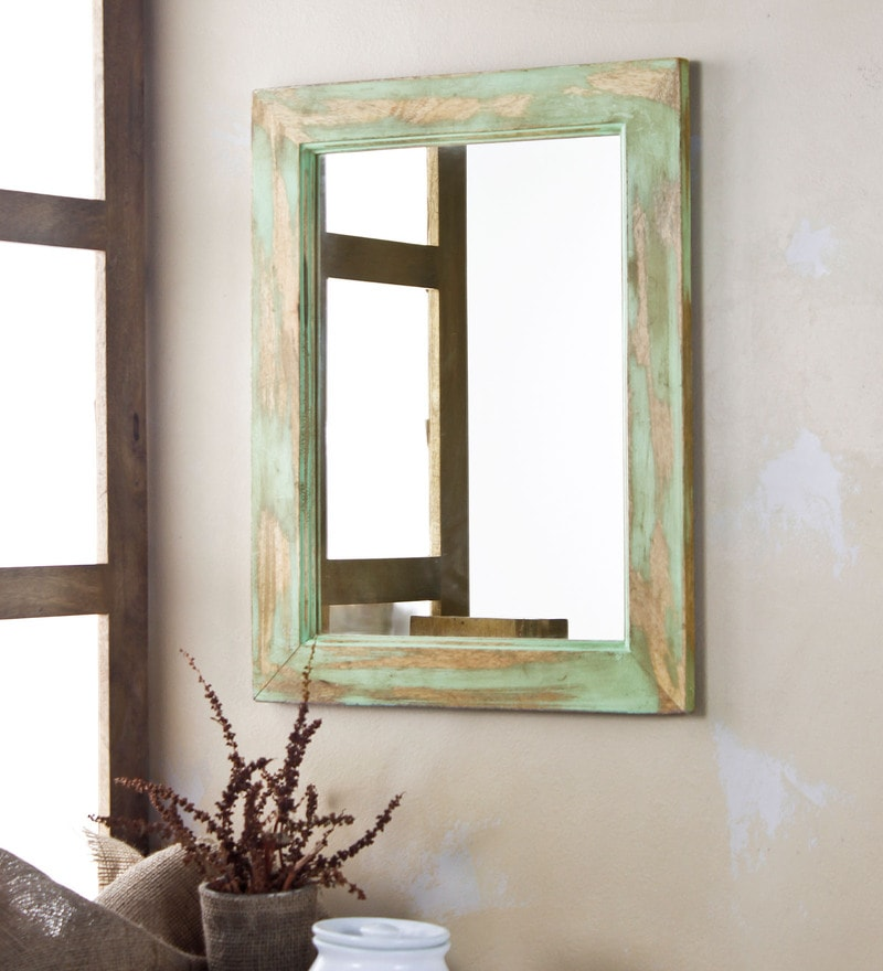 Fabuliv Distress Green Mango Wood 14 x 0.5 x 18 Inch Bathroom Mirror
