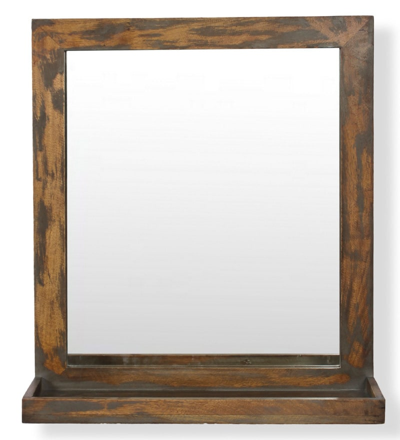 Buy Mango Wood Framed Brown Bathroom Mirror With Shelf (L ...