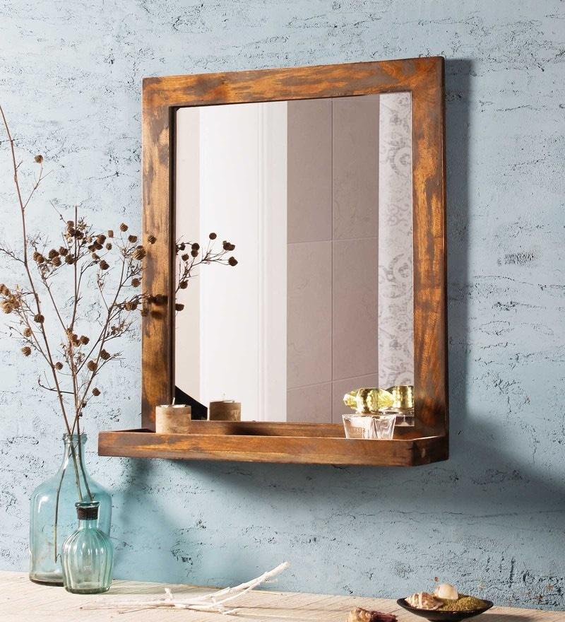 Fabuliv Distress Grey Mango Wood 21 x 6 x 24 Inch Weathered Bathroom Mirror With Shelf