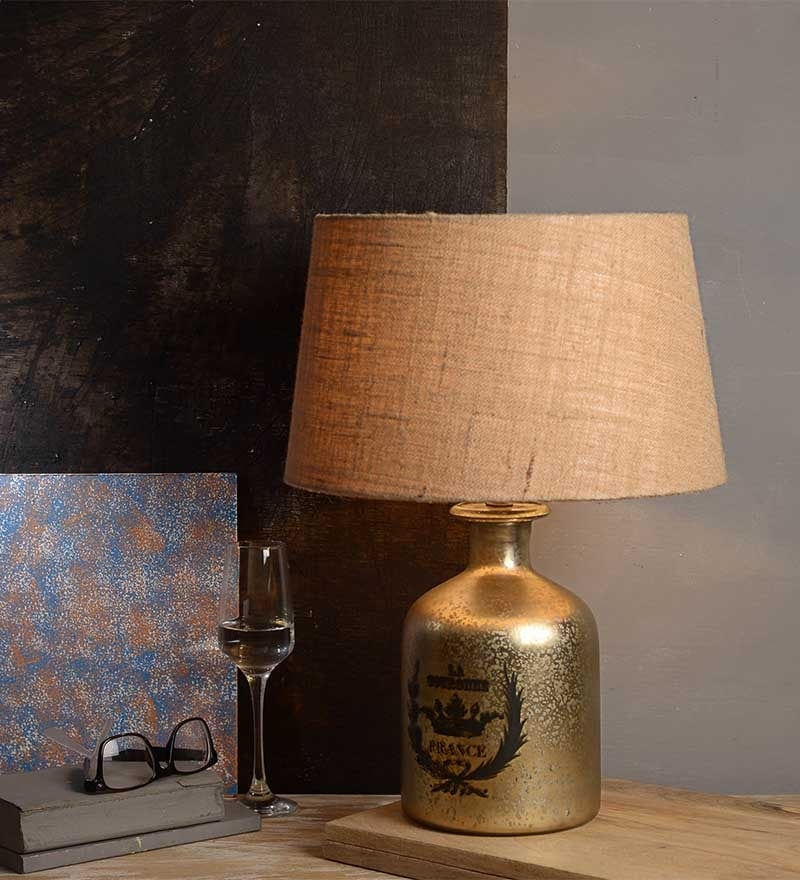 Abel Beige Cotton Table Lamp by Fabuliv