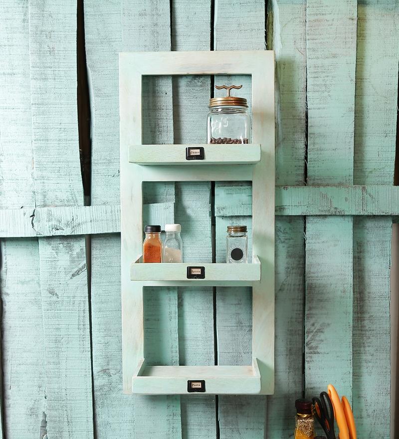 Buy Fabuliv Smoky Turquoise Mango Wood Kitchen Shelf With