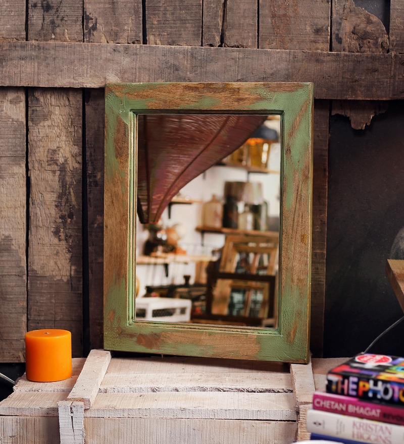 Turquois Mango Wood Casalina Wall Mounted Mirror by Fabuliv