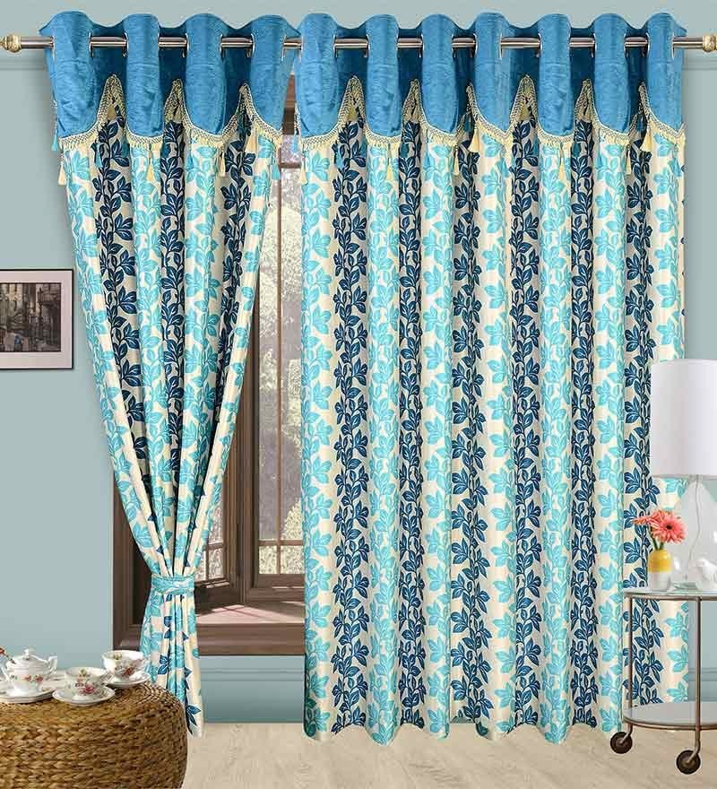 Precious Blue Polyester Eyelet Window Curtain- Set of 2 by Cortina