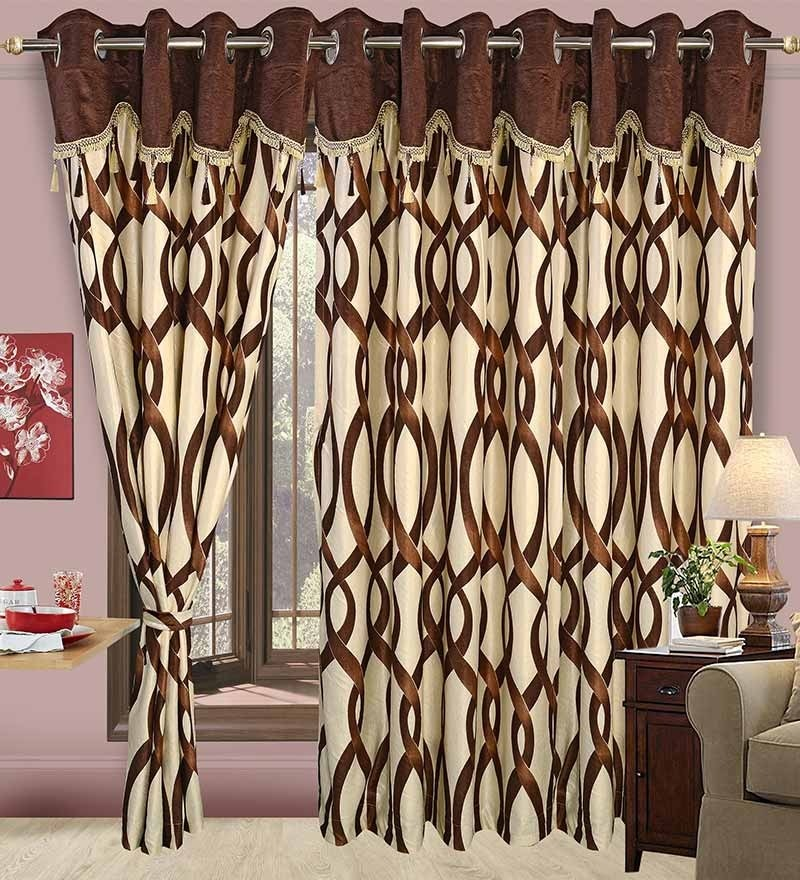 Brown Polyester Floral Eyelet Window Curtain- Set of 2 by Cortina