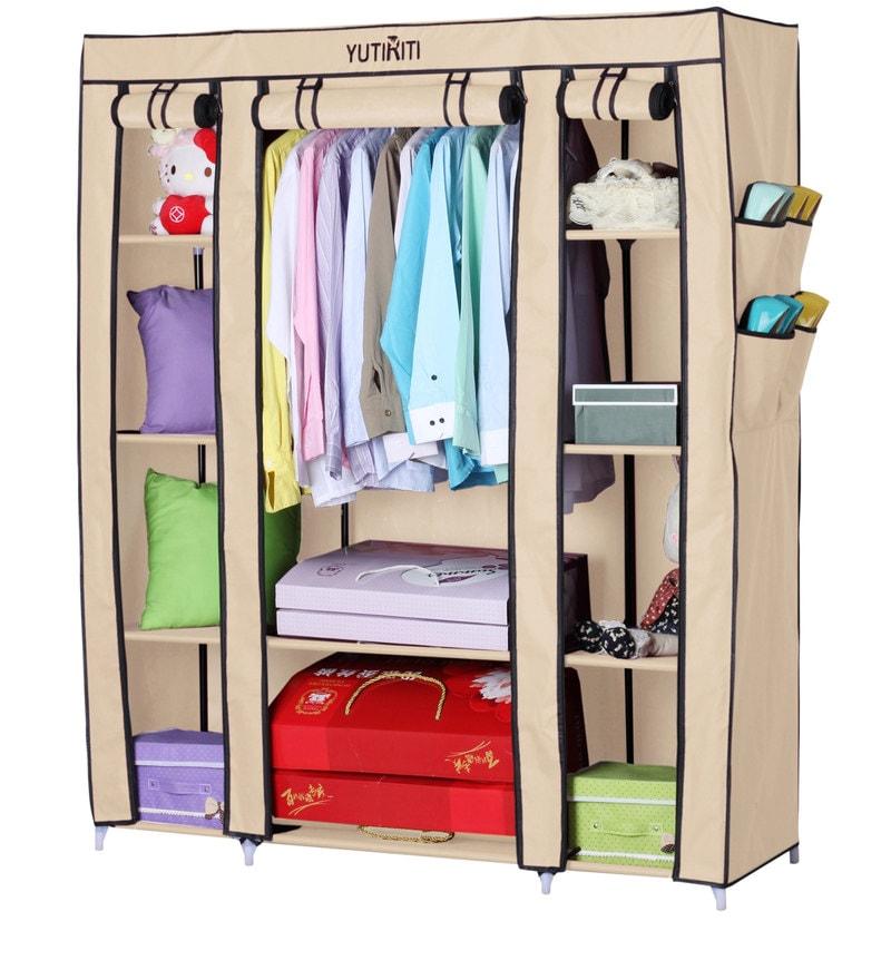 Fancy Triple Door Large Portable Multipurpose Waterproof Fabric Wardrobe in Cream Colour by YUTIRITI