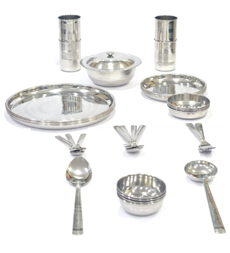 Stainless Steel Crystal Dinner Set - 36 Pcs by Fantasy