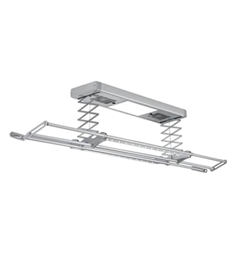 Faraday Imported Compact Aluminium Silver Electric Clothes Drying Rack with Wireless Remote Control