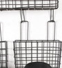 Fabuliv Black Metal Utility Wall Hanging Wire Basket - Set of 3