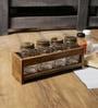 Fabuliv Rusty Walnut Mango Wood & Glass Spice Rack with 4 Spice Jars