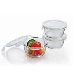Femora Borosilicate Round Storage Container - Set Of 3