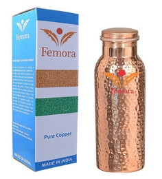 Femora Hammered Handmade Joint Free Thermos Leak Proof Pure Copper Water Bottle