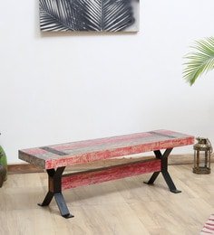 Ferris Solid Wood Bench In Distress Finish