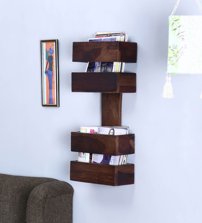 Teak Sheesham Wood Wall Shelf with hooks for wall hanging by Satyam International