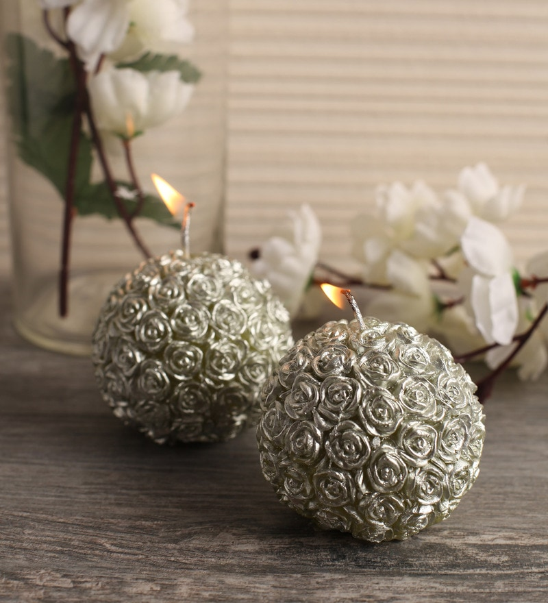 Silver Wax Rose Scented Candle - Set of 2 by Festive Collection