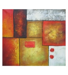 Canvas 23 X 20 Inch Orange Abstract Framed Handpainted Art Painting