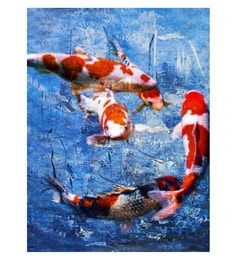 Canvas 24 X 36 Inch Carp Unframed Handpainted Art Painting