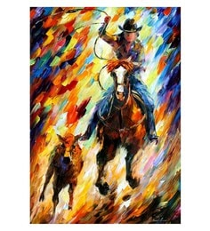 Canvas 24 X 36 Inch Rodeo The Chase Unframed Handpainted Art Painting