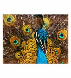Canvas 36 X 24 Inch Peacock Unframed Handpainted Art Painting