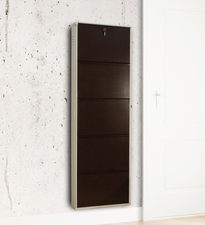 Five Door Powder Coated Metallic Shoe Rack in Coffee Brown & Cream Colour by Delite KOM