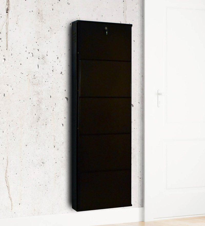 Five Door Powder Coated Metallic Shoe Rack in Coffee Brown Colour by Delite KOM