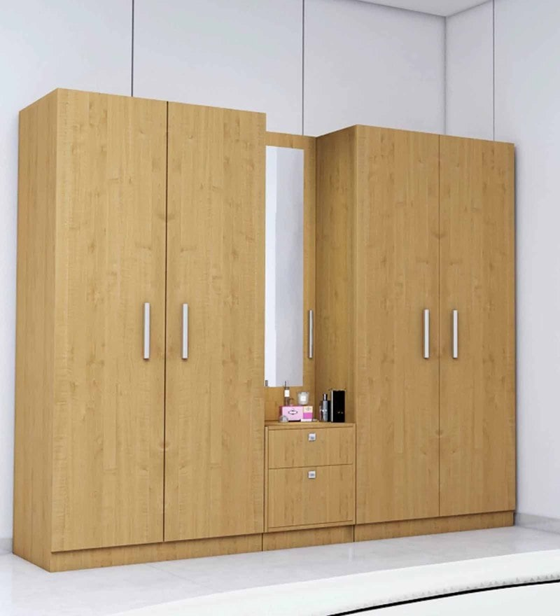 Five Door Wardrobe in Asian Maple Finish in PLPB By Primorati