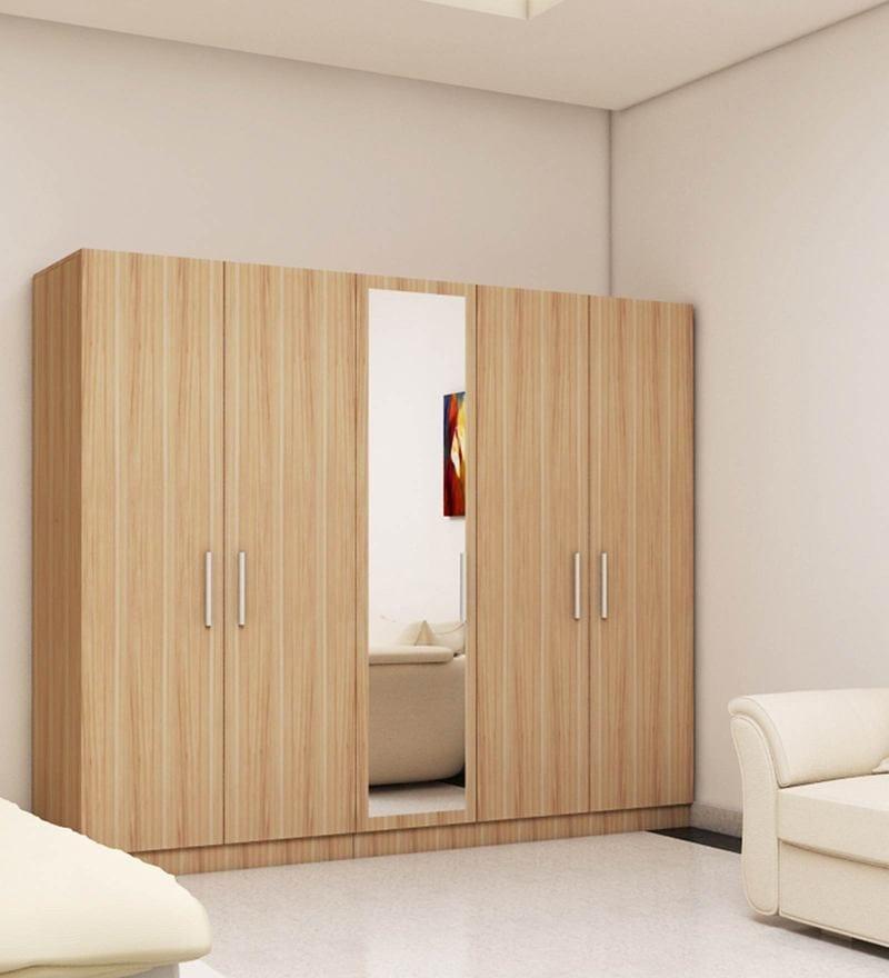 Five Door Wardrobe in Swiss Elm Bleached finish in MDF By Primorati