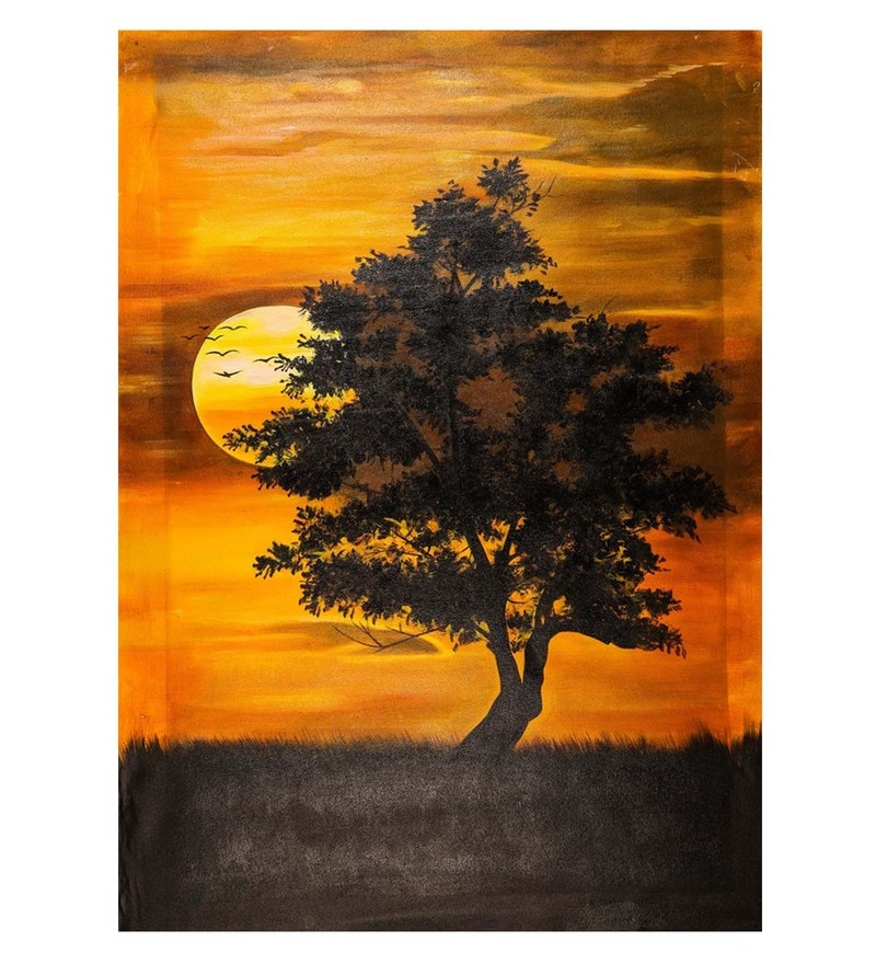 Canvas 24 x 36 Inch Sun & Tree Combine Unframed Handpainted Art Painting by Fizdi Art Store