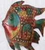 Ethnic Clock Makers Multicolour Metal Fish Jali Medium Wall Art