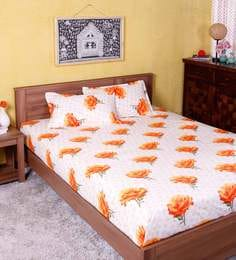 Floral Pattern 144TC Cotton Queen Size Bed Sheet With 2 Pillow Covers ...
