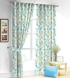 Floral Poly Viscose 9 Feet Long  Door Curtain - 1682954