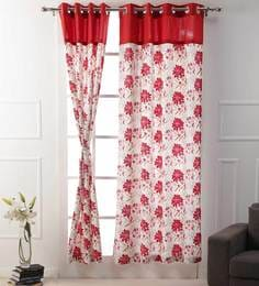 Floral Printed Red Color Premium Cotton Eyelet 7 X3.8 Feet Door Curtain