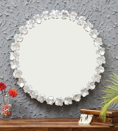 Floral Round Wall Mirror In Silver Finish