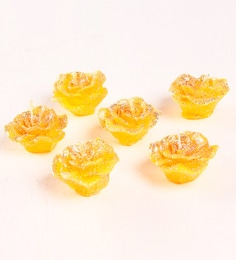 Market Finds Yellow Floating Flower Candle - Set Of Six