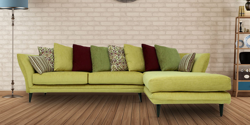 Florence Fantasy LHS Three Seater Sofa with Lounger & Cushions in Citron Green Colour by CasaCraft
