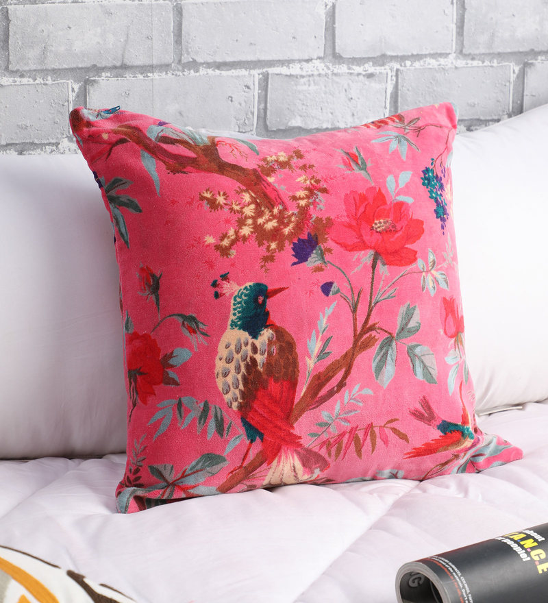 """Red vintage style Flower Design Cushion Covers 16/""""X16/"""""""