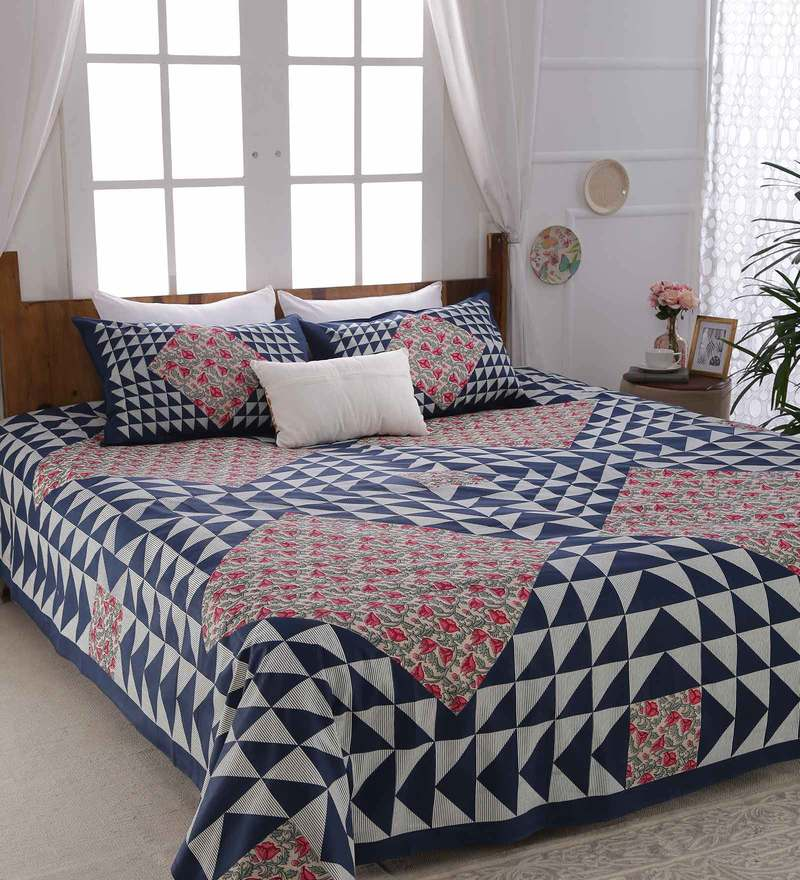 aa115d38ba4 Fl Pattern 160tc Cotton King Size Bed Sheet With 2 Pillow