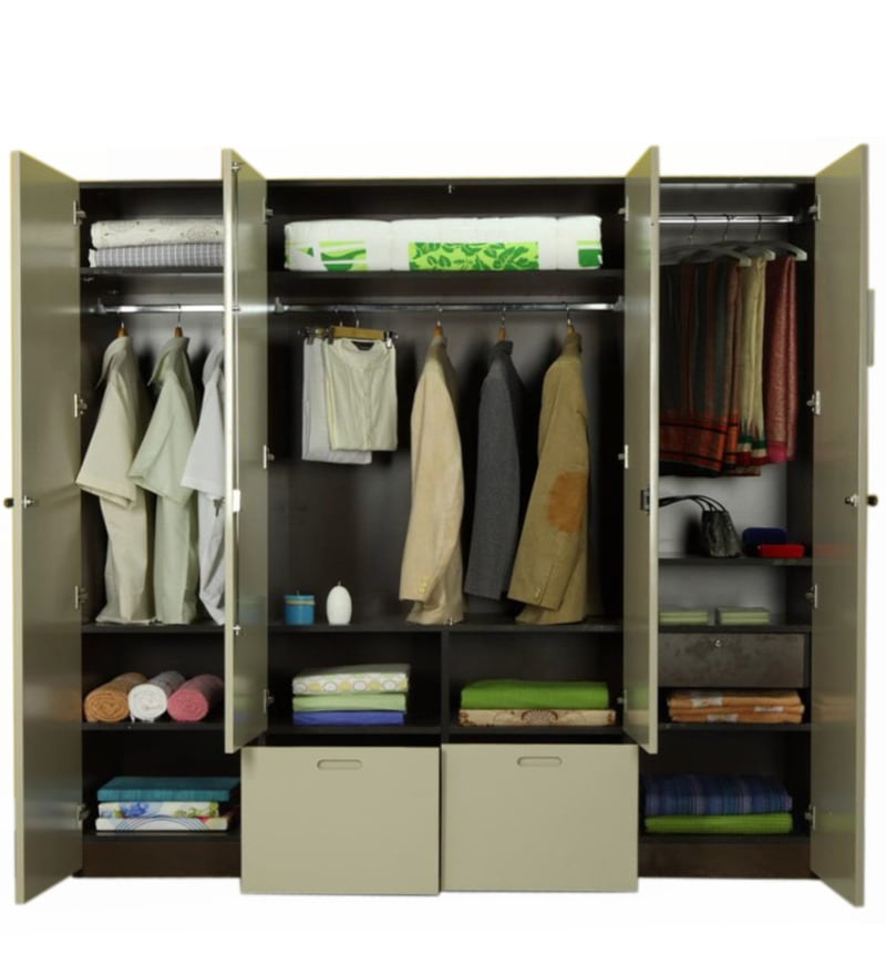 Flute four door wardrobe by godrej interio by godrej for 4 door wardrobe interior designs