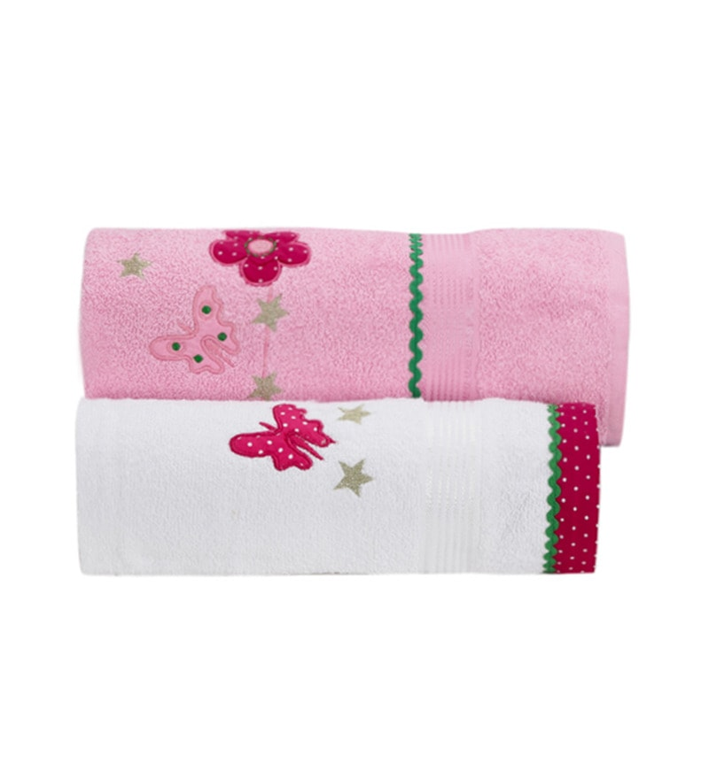 Kids Pink Cotton Kids Towel - Set of 2 by FlyFrog