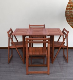 Foldable & Compact Four Seater Dining Set In Natural Brown Finish