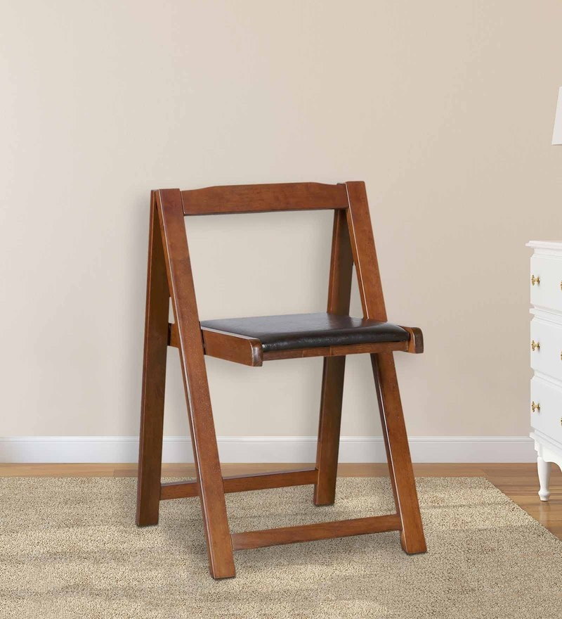 Foldable Compact Chairs (Set Of 2) in Black & Walnut Finish by HomeTown