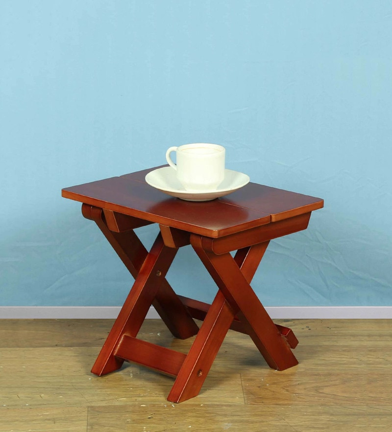 Foldable End Table in Brown Finish by ClasiCraft