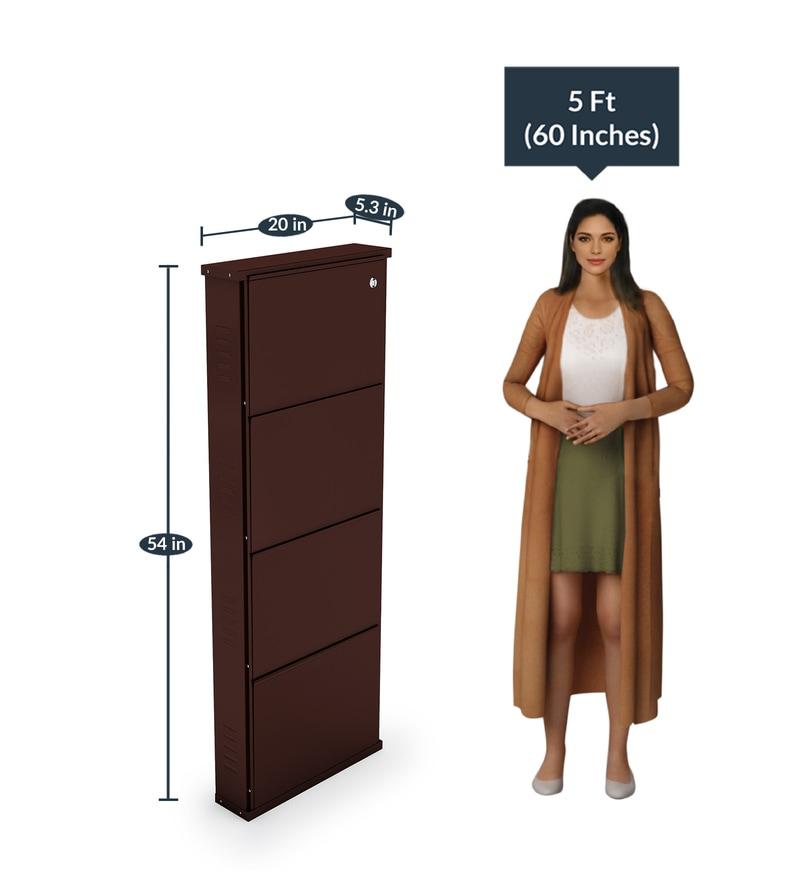 aad0eb179de Buy Foldable Four Door Steel Shoe Rack in Brown Colour By Peng ...