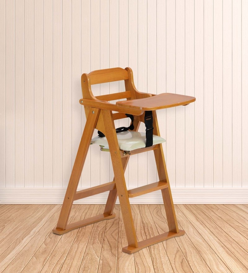 Folding Baby High Chair In Cherry Color By Marco