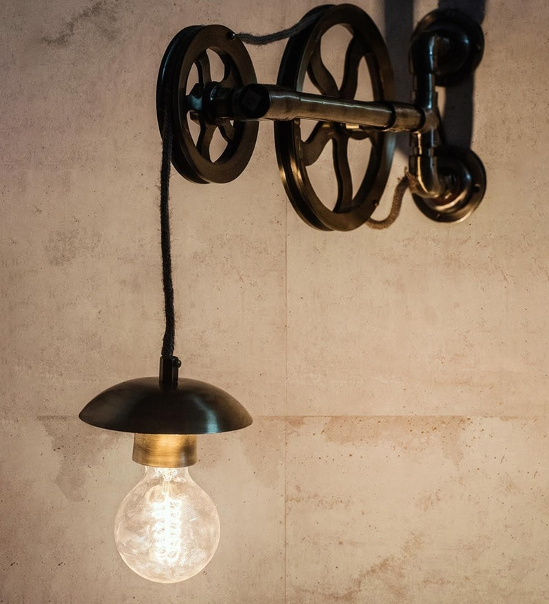 Antique Gold Aluminium & Steel Wall Light by Fos Lighting