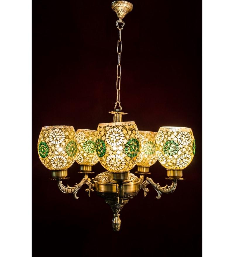 Gold Brass & Glass Chandelier by Fos Lighting