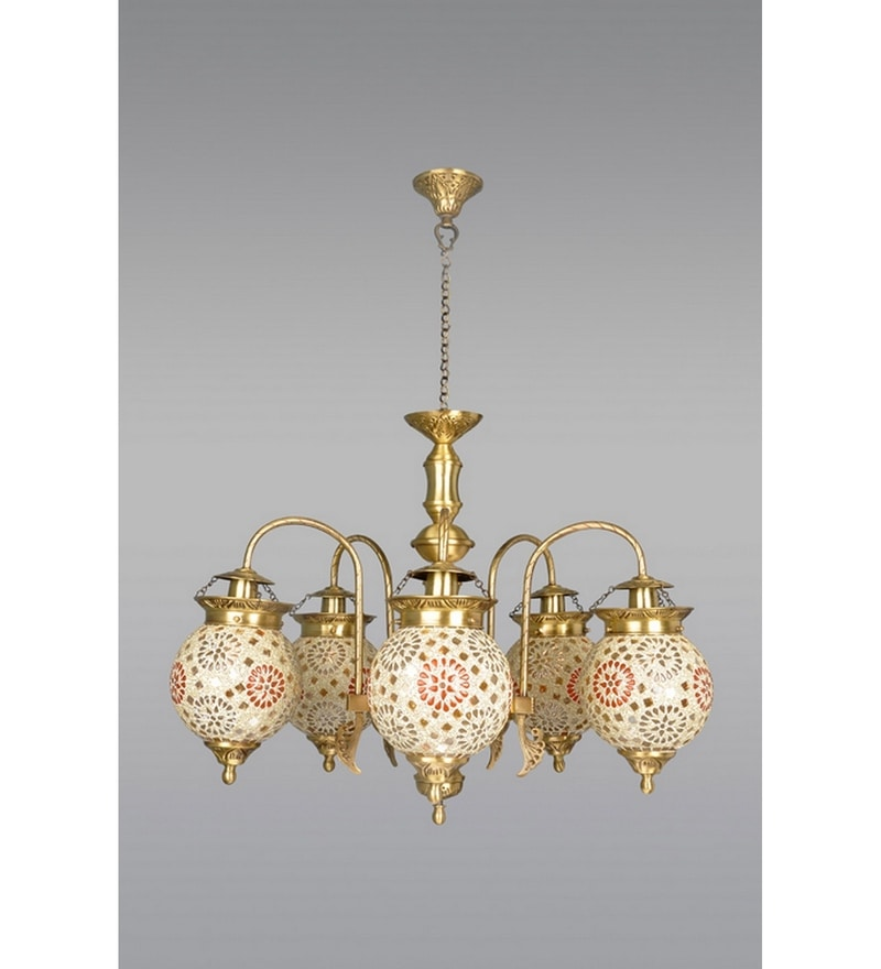 Outdoor Post Lights India: Buy Gold Brass & Glass Chandelier By Fos Lighting Online